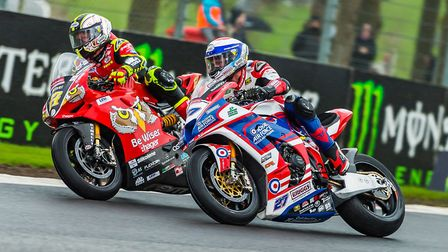 Shane Byrne, left, was taken to hospital after crashing at Snetterton. Picture: Barry Clay
