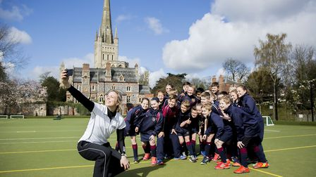 Olympic gold medal winner Kate Richardson-Walsh at Norwich School, with lower school pupils. Picture