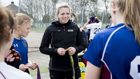 Olympic gold medal winner Kate Richardson-Walsh with Norwich School's pupils. Picture: Norwich Schoo