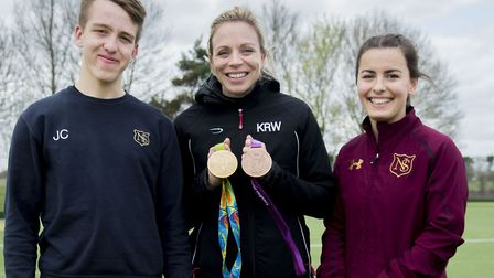 Olympic gold medal winner Kate Richardson-Walsh with Norwich School's boys hockey first XI captain J