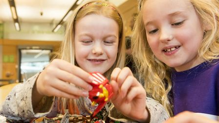 Lego Big Build event to support Autism Awareness at Norwich Library. Evie Holmes and Bella Herrieven