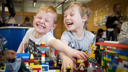 Lego Big Build event to support Autism Awareness at Norwich Library. Joe Holmes and Sam Herrievan ha