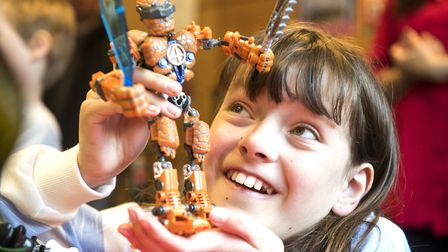 Lego Big Build event to support Autism Awareness at Norwich Library.Amy Smith enjoying her time with