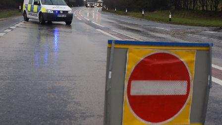 Police close the A47 after an accident near Honingham on Easter Monday. Picture: DENISE BRADLEY