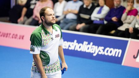 Jamie Chestney in action at the world indoor bowls championships at Potters. Picture: Nick Butcher