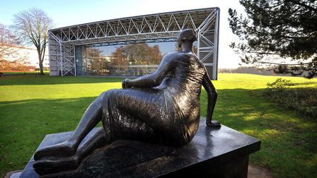 Henry Moore's 'Draped Reclining Woman' of 1957-8 overlooks the west end of Sir Norman Foster's iconi