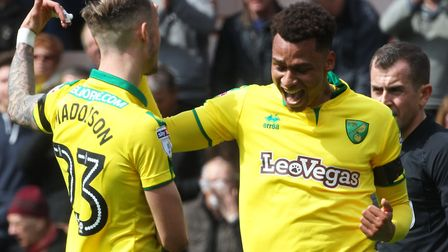 Josh Murphy celebrates his brilliant goal against Villa with James Maddison. Picture by Paul Chester