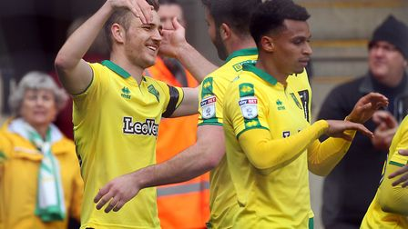 Dennis Srbeny is congratulated by his City team-mates after scoring against Villa. Picture by Paul C