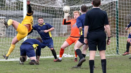 Goalmouth action from last weekend's Anglian Combination top-flight clash between Waveney and Beccle