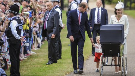 The Cambridges with wellwishers at the christening of Princess Charlotte at Sandringham Church. Pict
