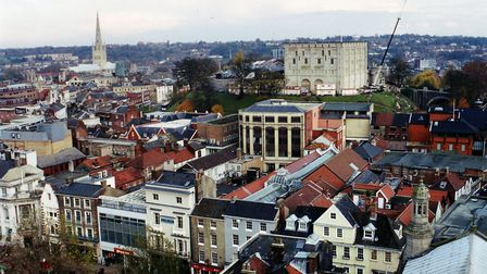 Aerial view of Norwich showing Gentlemans Walk, Norwich Castle and Norwich Cathedral, dated 14th Nov