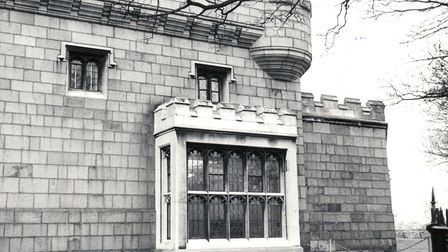 The stone window at the Castle Museum in Norwich, 4th February 1976. Photo: Archant Library