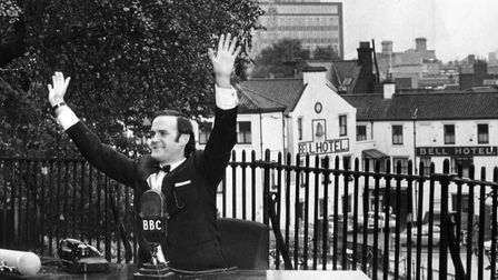 John Cleese filming for Monty Python on the Norwich Castle mound on November 9 1971. The sequence wa