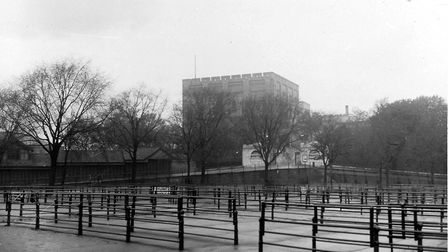 Norwich Castle with cattle market pens in the foreground in this undated photograph.