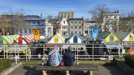 Norwich market in the spring sunshine. Picture: ANTONY KELLY