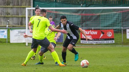 Former Ipswich player Carlos Edwards in action for Woodbridge against Norwich CBS. Picture: Paul Lee