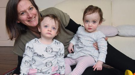 Josie Wilson with her 16-month-old twins Esme, left, and Iris, who have only been home a year after