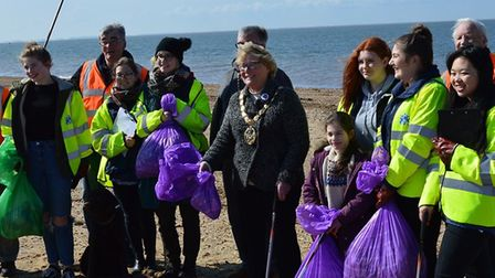 Mrs Bower with volunteers at the litter pick. Picture Trinity Rotary Club