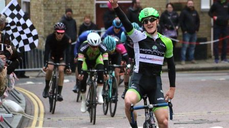 Liam Manser (Pedal Power Ipswich) wins the final at the Active Fakenham races. Picture: MIKE HOY