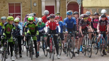 The start of the youth races at Fakenham Criteriums. Picture: Fergus Muir