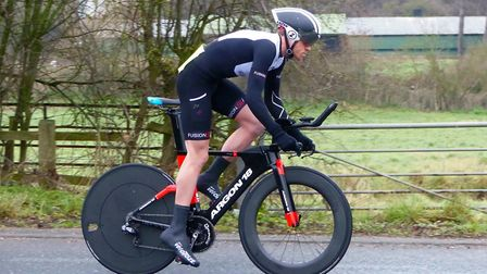 Men's winner Sam Procter (Tri Harder) leaves the star at the Gt Yarmouth CC Good Friday 10. Picture:
