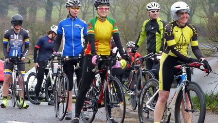 Ladies gather at Redenhall for the start of the Good Friday Ten in the Waveney Valley. Picture: Ferg