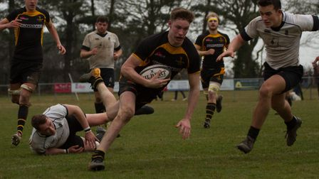 Southwold RFC's Callum Anthony going in to score.