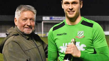 Gorleston man of the match Ross Gilfedder with sponsor Kevin Hannant. Picture: DAVID HARDY