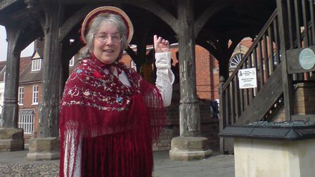 Georgette Vale, a history and heritage enthusiast, in Wymondham. Picture provided by Wymondham Walks