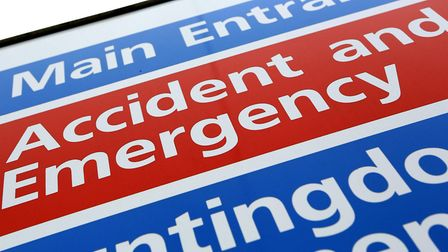 File photo of an Accident and Emergency sign. Photo: PA