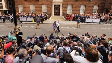 The Duke and Duchess of Cambridge with their newly-born son Prince George. Picture: Dominic Lipinski