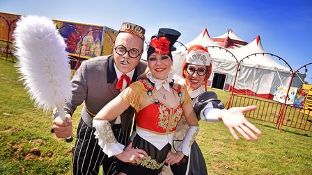 Moscow State Circus at Norfolk Showground. Performers, Yana Alieva (centre) with Alex and Bella Cher
