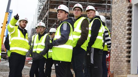 City College Norwich students visit the Goldsmith Street development with RG Carter. Picture: RG Car