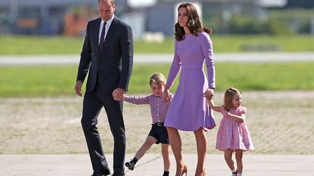 The Duke and Duchess of Cambridge and their children, Prince George and Princess Charlotte. Picture: