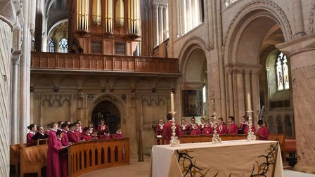 The Norwich Cathedral choir singing as the Cathedral music appeal is launched to raise funds for a f