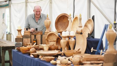 Woodturner Colin Boatman from Attleborough, on his stall at the Sandringham Craft Show. Picture: Ian