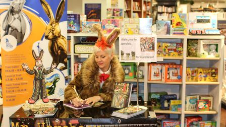 Author and artist Sally Adams has designed the GoGoHare sculpture sponsored by Jarrold. Sally is pic
