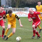 Action from the Anglian Combination Premier game between Reepham Town and Waveney last weekend., Pic
