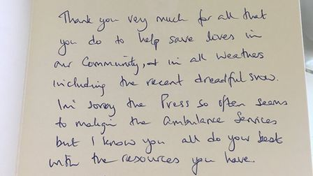 A note of appreciation and choclates were dropped at Diss ambulance station. Photo: Carley Ward