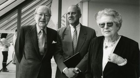 Lord Sainsbury, Norman Foster and Lady Sainsbury at the Sainsbury Centre. Picture: SCVA archive