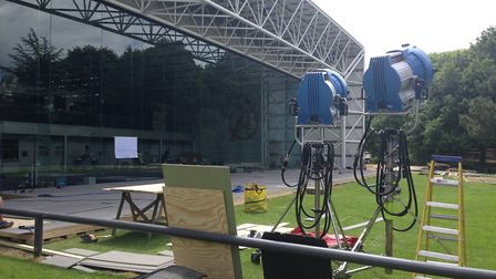 Film crews at the Sainsbury Centre for Visual Arts on the University of East Anglia campus setting u