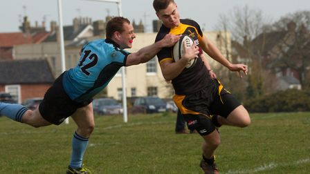 Jacob English goes over for Southwold during a win over Woodbridge that kept them in the London 3EC