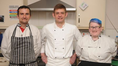 From left Jamie Lucas, Francis Bone and Laura Wenn in the kitchen at the Purfleet Trust. Picture: Ch