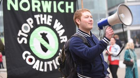A protest against the war in Syria was held outside The Forum in Norwich. Pictured is Tim Knight-Hug