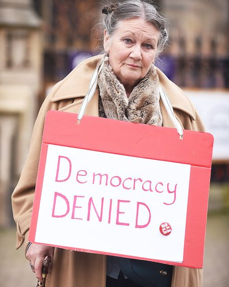 A protest against the war in Syria was held outside The Forum in Norwich. Pictured is Janet Hewett.
