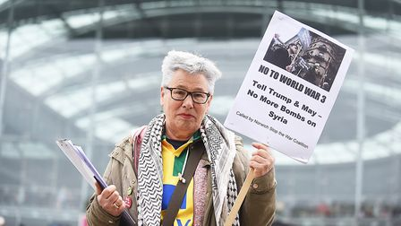 A protest against the war in Syria was held outside The Forum in Norwich. Pictured is Mary Littlefie