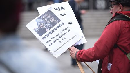 A protest against the war in Syria was held outside The Forum in Norwich. Picture: Ian Burt