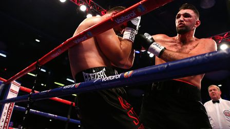 Sam Sexton, left, and Hughie Fury in action during their British heavyweight title fight. Picture: P