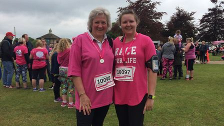 Mother and daughter Caroline and Hannah Tomlinson at Race for Life at the Norfolk Showground. PHOTO: