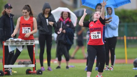Lily Edwards in action at the Athletics Norfolk Track & Field Championships. Picture: Nick Butcher